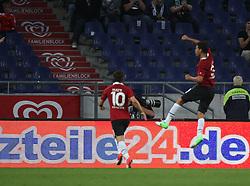 FootballL: Europa League, Qualification, Hannover 96 - St. Patricks Athletic, Hannover, 09.08.2012..Karim Haggui (Hannover, r.) celebrates scoring first goal..©pixathlon