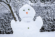 Unhappy snow man in Kings Heath Park on 24th January 2021 in Birmingham, United Kingdom. Deep snow arrived in the Midlands giving some light relief and fun during the current lockdown for people who simply enjoyed the weather.