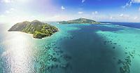 Panoramic aerial view of Palfrey Island (left) & Lizard Island, Great Barrier Reef, Queensland, Australia