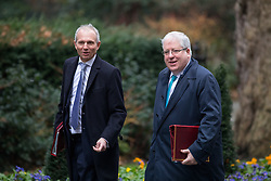 © Licensed to London News Pictures. 31/01/2017. London, UK. Leader of the House of Commons David Lidington and Chancellor of the Duchy of Lancaster Patrick McLoughlin arriving at Downing Street for a cabinet meeting this morning. Photo credit : Tom Nicholson/LNP