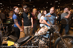 Friday night grand opening of the Handbuilt Motorcycle Show. Austin, TX, USA. April 8, 2016.  Photography ©2016 Michael Lichter.