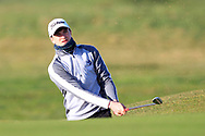 Thomas Higgins (Roscommon) in a bunker on the 1st during Round 2 of the Ulster Boys Championship at Donegal Golf Club, Murvagh, Donegal, Co Donegal on Thursday 25th April 2019.<br /> Picture:  Thos Caffrey / www.golffile.ie
