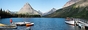 Two Medicine Lake, boat launch, Sinopah Mountain (8271 feet or 2521 meters), Glacier National Park, Montana, USA. (Panorama stitched from 4 overlapping images.)
