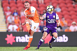 January 18, 2018 - Brisbane, QUEENSLAND, AUSTRALIA - Ivan Franjic of the Roar (#77, right) kicks the ball during the round seventeen Hyundai A-League match between the Brisbane Roar and the Perth Glory at Suncorp Stadium on January 18, 2018 in Brisbane, Australia. (Credit Image: © Albert Perez via ZUMA Wire)