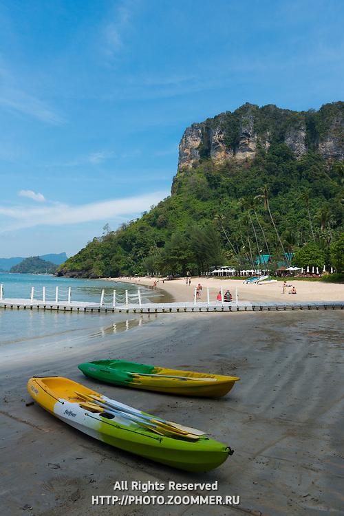 Two kayaks on Centara Grand beach near Ao Nang, Krabi province, Thailand
