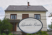A big sign saying Champagne Larmandier-Bernier, wine grower since 1849, vineyards in Cramant and Vertus, in front of the main house, Champagne Larmandier-Bernier, Vertus, Cote des Blancs, Champagne, Marne, Ardennes, France