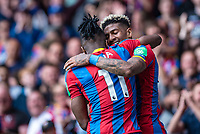 LONDON, ENGLAND - MAY 13: Wilfried Zaha (11) of Crystal Palace, Patrick van Aanholt (3) of Crystal Palace during the Premier League match between Crystal Palace and West Bromwich Albion at Selhurst Park on May 13, 2018 in London, England. MB Media