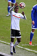 Ryan Sessegnon of Fulham prepares to take a throw-in. The Emirates FA Cup, 3rd round match, Cardiff city v Fulham at the Cardiff city stadium in Cardiff, South Wales on Sunday 8th January 2017.<br /> pic by Andrew Orchard, Andrew Orchard sports photography.