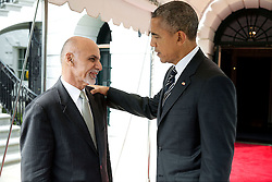 President Barack Obama bids farewell to President Ashraf Ghani of Afghanistan at the South Portico of the White House, March 24, 2015. (Official White House Photo by Pete Souza)<br /> <br /> This official White House photograph is being made available only for publication by news organizations and/or for personal use printing by the subject(s) of the photograph. The photograph may not be manipulated in any way and may not be used in commercial or political materials, advertisements, emails, products, promotions that in any way suggests approval or endorsement of the President, the First Family, or the White House.