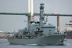 © Licensed to London News Pictures. 16/05/2016. HMS Kent at the QEII Bridge. The Type-23 frigate HMS Kent has left London after a short stay to head towards commemorative events to mark the centenary of the Battle of Jutland. She leaves London for Rosyth, a major port and key ship building area of the First World War, where she will take part in events organized by the Scottish Government at South Queensferry. She will then sail for Scapa Flow where she will provide a gun salute. Credit : Rob Powell/LNP
