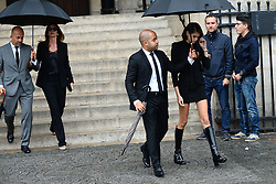Cindy Crawford and Kaia Gerber leaving the funeral service for late photographer Peter Lindbergh held at Saint Sulpice church in Paris, France on September 24, 2019. Photo by ABACAPRESS.COM