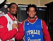 Pesaro , 06/03/2012<br /> Basket, conferenza stampa presentazione all star game 2012<br /> Nella foto: james white, daniel hackett<br /> Foto Ciamillo