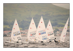 Day 2 brought Easterly changeable conditions for the Laser Radial World Championships, taking place at Largs, Scotland GBR. ..118 Women from 35 different nations compete in the Olympic Women's Laser Radial fleet and 104 Men from 30 different nations. .All three 2008 Women's Laser Radial Olympic Medallists are competing. .The Laser Radial World Championships take place every year. This is the first time they have been held in Scotland and are part of the initiaitve to bring key world class events to Britain in the lead up to the 2012 Olympic Games. .The Laser is the world's most popular singlehanded sailing dinghy and is sailed and raced worldwide. ..Further media information from .laserworlds@gmail.com.event press officer mobile +44 7775 671973  and +44 1475 675129 .