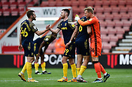Will Forrester (39) of Stoke City celebrates at full time after scoring a goal on his debut during the EFL Sky Bet Championship match between Bournemouth and Stoke City at the Vitality Stadium, Bournemouth, England on 8 May 2021.