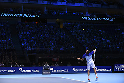 November 16, 2017 - London, England, United Kingdom - Croatia's Marin Cilic serves to Switzerland's Roger Federer during their men's singles round-robin match on day five of the ATP World Tour Finals tennis tournament at the O2 Arena in London on November 16, 2017. (Credit Image: © Alberto Pezzali/NurPhoto via ZUMA Press)
