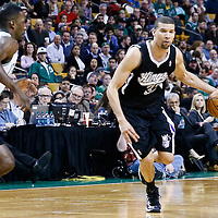 30 January 2013: Sacramento Kings shooting guard Francisco Garcia (32) drives Boston Celtics power forward Jeff Green (8) during the Boston Celtics 99-81 victory over the Sacramento Kings at the TD Garden, Boston, Massachusetts, USA.