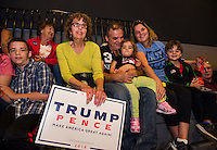 Trump supporters in the crowd at Laconia Middle School Thursday evening.  (Karen Bobotas/for the Laconia Daily Sun)
