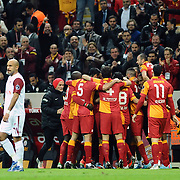Galatasaray's players celebrate his goal during their Turkish Superleague soccer match Galatasaray between SB Elazigspor at the AliSamiYen Spor Kompleksi at Aslantepe in Istanbul Turkey on Friday 19 April 2013. Photo by TURKPIX