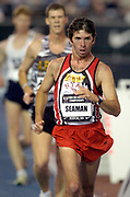Tim Seaman wins the 5,000-meter race walk in 19:30.59 for his seventh national title in a row in the USA Track & Field Indoor Championships at Reggie Lewis Track & Athletic Center at Roxbury Community College on Saturday, Feb. 28, 2004 in Roxbury Crossing, Mass.