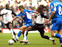 Photo. Chris Ratcliffe, Digitalsport<br /> Fulham v Derby County. FA Cup Fourth Round replay. <br /> 12/02/2005<br /> Inigo Idiakez of Derby clashes with Luis Boa Morte of Fulham.