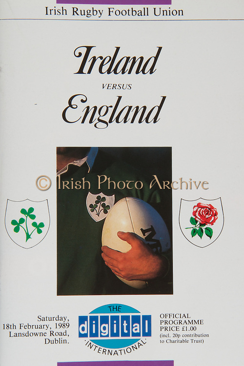 Irish Rugby Football Union, Ireland v England, Five Nations, Landsdowne Road, Dublin, Ireland, Saturday 18th February 1989,.18.02.1989, 02.18.1989,..Referee- L Peard, WRU,..Score- Ireland 3 - 16 England,..Irish Team, ..F J Dunlea,  Wearing number 15 Irish jersey, Full Back, Landsdwne Rugby Football Club, Dublin, Ireland,..M J Kiernan, Wearing number 14 Irish jersey, Right Wing, Dolphin Rugby Football Club, Cork, Ireland,..B J Mullin, Wearing number 13 Irish jersey, Right Centre, London Irish Rugby Football Club, London, England,  ..D G Irwin, Wearing number 12 Irish jersey, Left Centre, Instonians Rugby Football Club, Belfast, Northern Ireland, ..P P Haycock, Wearing number 11 Irish jersey, Left Wing, Terenure Rugby Football Club, Dublin, Ireland,..P M Dean, Wearing number 10 Irish jersey, Out Half, St Marys College Rugby Football Club, Dublin, Ireland,..F P Aherne, Wearing number 9 Irish jersey, Scrum Half, Lansdowne Rugby Football Club, Dublin, Ireland,..N P Mannion, Wearing number 8 Irish jersey, Forward, Corinthians Rugby Football Club, Gaway, Ireland,..P T J O'Hara , Wearing number 7 Irish jersey, Forward, Sundays Well Rugby Football Club, Cork, Ireland, ..P M Mathews, Wearing number 6 Irish jersey, Captain of the Irish team, Forward, Wanderers Rugby Football Club, Dublin, Ireland,..W A Anderson, Wearing number 5 Irish jersey, Forward, Dungannon Rugby Football Club, Tyrone, Northern Ireland, ..D G Lenihan, Wearing number 4 Irish jersey, Forward, Cork Constitution Rugby Football Club, Cork, Ireland,..J J Mcoy, Wearing number 3 Irish jersey, Forward, Bangor Rugby Football Club, Down, Northern Ireland,..S J Smith, Wearing number 2 Irish jersey, Forward, Ballymena Rugby Football Club, Antrim, Northern Ireland, ..T P J Clancy, Wearing number 1 Irish jersey, Forward, Lansdowne Rugby Football Club, Dublin, Ireland,..English Team, ..J M Webb, Wearing number 15 English jersey, Full Back, Bristol Rugby Football Club, Bristol, England, ..R Underwood, Wearing number 14 Eng