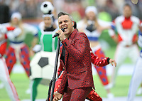 Football - 2018 FIFA World Cup - Group A: Russia vs. Saudi Arabia<br /> <br /> Singer Robbie Williams is  seen during the Opening Ceremony at the Luzhniki Stadium, Moscow.<br /> <br /> COLORSPORT/IAN MACNICOL