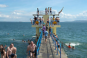 23/06/2014 School's out for summer  and it started with a splash at the diving tower in Salthill. Photo:Andrew Downes.