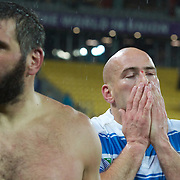 Argentina Captain Felipe Contepomi with shirtless team mate Martin Scelzo after their sides 13-12 victory during the Argentina V Scotland, Pool B match at the IRB Rugby World Cup tournament. Wellington Regional Stadium, Wellington, New Zealand, 25th September 2011. Photo Tim Clayton...
