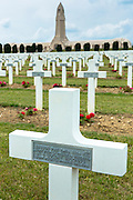 Cemetery of Douaumont and ossuary, Ossuaire de Douaumont, at Fleury-devant-Douaumont near Verdun, France. Unknown soldier buried with named French soldier