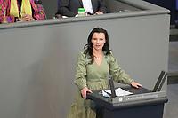 DEU, Deutschland, Germany, Berlin, 23.04.2021: Deutscher Bundestag, Jana Schimke (CDU) bei einer Rede in der Debatte zum Antrag von Bündnis 90/Die Grünen zur besseren Absicherung von Solo-Selbstständigen in der Kultur- und Kreativwirtschaft.