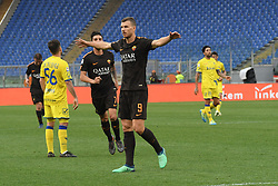 April 28, 2018 - Rome, Italy - Edin Dzeko celebrates after score goal 4-0 during the Italian Serie A football match between A.S. Roma and Chievo at the Olympic Stadium in Rome, on april 28, 2018. (Credit Image: © Silvia Lore/NurPhoto via ZUMA Press)