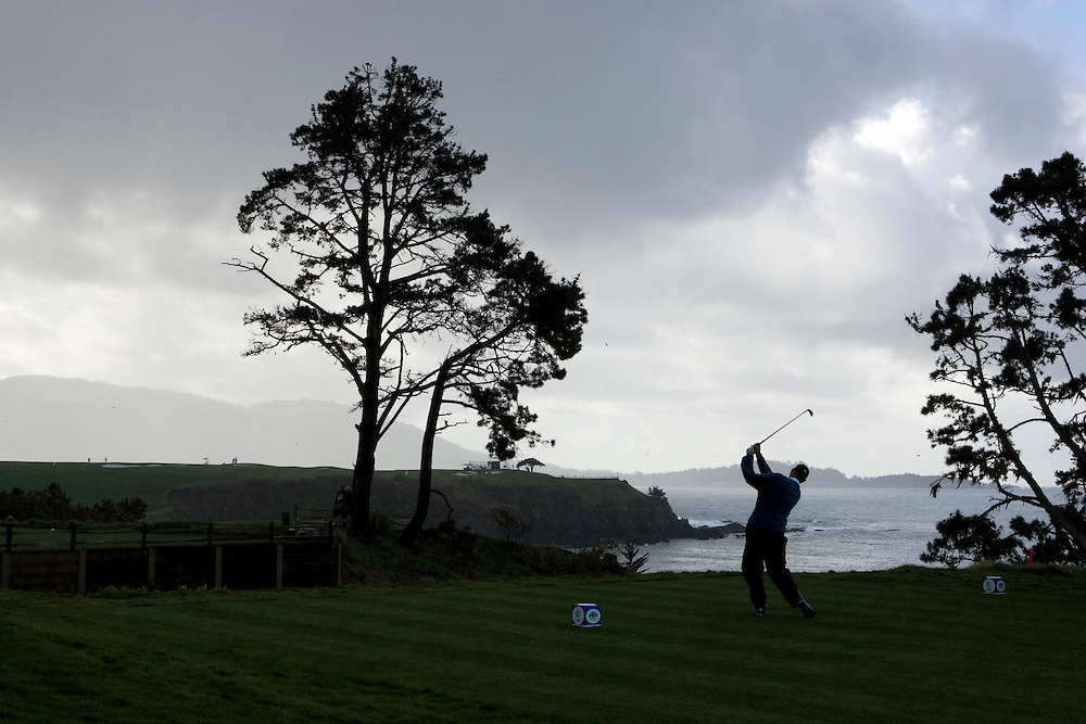 Tom Lehman teeing off on the fifth hole at Pebble Beach during the 2009 AT&T Pro Am