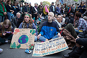 Despite a directive from the police not to gather, Extinction Rebellion take over Whitehall in a sit down protest where large numbers were arrested on 16th October 2019 in London, England, United Kingdom. Extinction Rebellion is a climate change group started in 2018 and has gained a huge following of people committed to peaceful protests. These protests are highlighting that the government is not doing enough to avoid catastrophic climate change and to demand the government take radical action to save the planet.