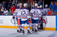 PENTICTON, CANADA - SEPTEMBER 8: The Edmonton Oilers exit the ice on September 8, 2017 at the South Okanagan Event Centre in Penticton, British Columbia, Canada.  (Photo by Marissa Baecker/Shoot the Breeze)  *** Local Caption ***