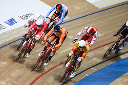 March 2, 2019 - Pruszkow, Poland - Jan Wilem  Van Schip (NED) Niklas Larsen (DEN) Szymon Sajnok (POL) Albert Torres Barcelo (ESP) compete in the Men's Omnium on day four of the UCI Track Cycling World Championships held in the BGZ BNP Paribas Velodrome Arena on March 02 2019 in Pruszkow, Poland. (Credit Image: © Foto Olimpik/NurPhoto via ZUMA Press)