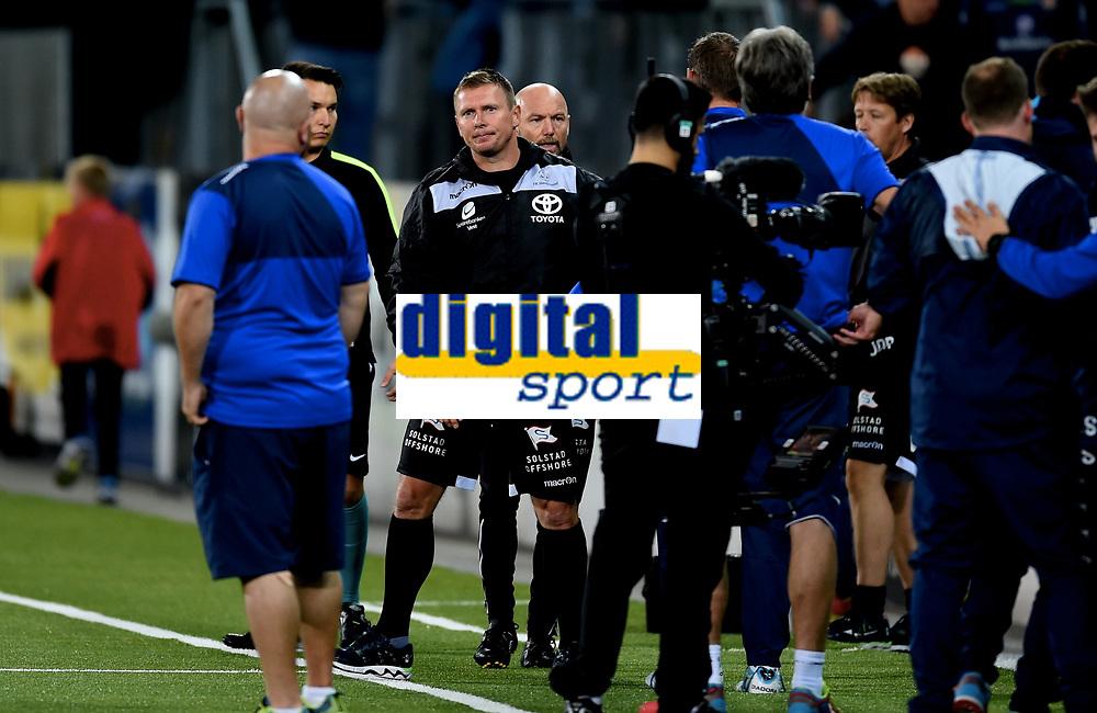 Fotball , 11. september 2015 ,   Eliteserien , Tippeligaen <br /> Strømsgodset - Haugesund 5-0<br /> Trener Jostein Grindhaug , Haugesund