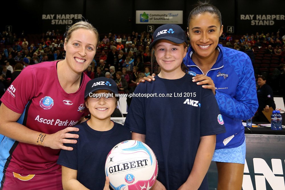 Wendy Frew captain of the Steel, future captain Louisa Kotkamp, Maddison McDonald and Maria Tutaia captain of the Mystics during the ANZ Championship match between the Steel and the Mystics at Stadium Southland, Invercargill, Saturday, May 23, 2015. Photo: Dianne Manson / www.photosport.co.nz
