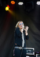Milo The Girl takes the main stage at Laconia Fest on Wednesday evening.  (Karen Bobotas/for the Laconia Daily Sun)