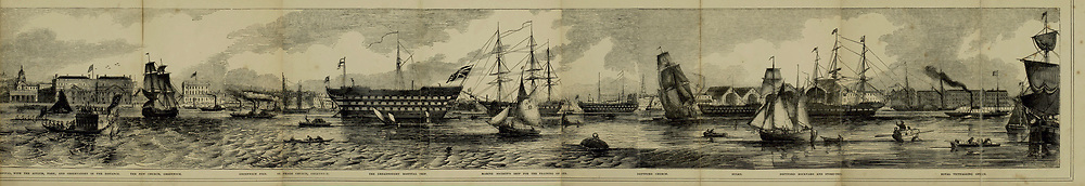 Part 5 of 5 of The Grand panorama of London from the Thames Published in London by Charles Evans. This remarkable engraving, twelve feet in length, may be taken as a specimen of the gifts presented without charge to the subscribers to the Pictorial times, family illustrated newspaper; as a print it is unequalled in the history of wood engraving, and is alike valuable as a work of art and as an historical record of the appearance of the great metropolis, seen from the Thames in 1844.