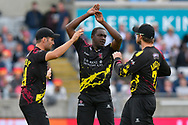 Jerome Taylor of Somerset celebrates taking the wicket of Phil Salt of Sussex  during the Vitality T20 Finals Day Semi Final 2018 match between Worcestershire Rapids and Lancashire Lightning at Edgbaston, Birmingham, United Kingdom on 15 September 2018.