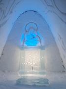 The Chapel in an ice hotel in Kirkeness, Finnmark region, northern Norway
