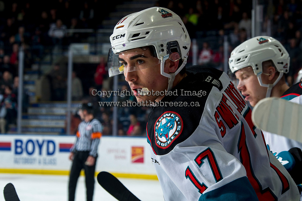 KELOWNA, BC - FEBRUARY 28: Alex Swetlikoff #17 of the Kelowna Rockets stands on the bench against the Everett Silvertips at Prospera Place on February 28, 2020 in Kelowna, Canada. (Photo by Marissa Baecker/Shoot the Breeze)