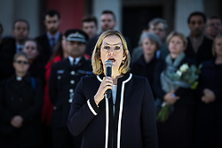 © Licensed to London News Pictures. 23/03/2017. London, UK. Home Secretary Amber Rudd speaks to thousands of people at a vigil in Trafalgar Square for the victims of the Westminster terrorist attack, which took place on 22 March 2017. Photo credit: Rob Pinney/LNP