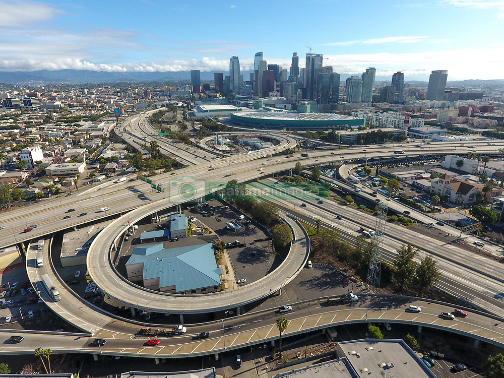 March 20, 2020, Los Angeles, California, USA: The 10 Freeway and 110 Freeway have unusually light traffic because of the coronavirus (COVID-19) outbreak during midday in Downtown Los Angeles. (Credit Image: © Jeff Gritchen/Orange County Register via ZUMA Wire)