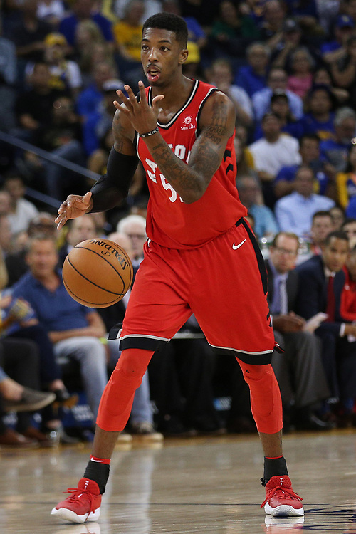 Toronto Raptors guard Delon Wright (55) during the fourth quarter of an NBA game between the Golden State Warriors and Toronto Raptors at Oracle Arena on Wednesday, Oct. 25, 2017, in Oakland, Calif. The Warriors won 117-112.