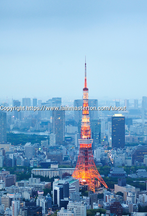 Tokyo tower and cityscape of Tokyo at dusk
