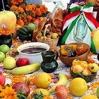 Mexico, Oaxaca.  Typical shrine for Dia de Los Muertos (Day of the Dead).