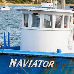 Fishing boat in Wellfleet Harbor in  Wellfleet, Massachusetts. Cape Cod.