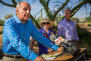 29 AUGUST 2012 - PARADISE VALLEY, AZ:     Dr. RICHARD CARMONA, Democratic candidate for US Senate from Arizona, speaks at a press conference in Barry Goldwater Memorial Park in Paradise Valley, AZ, Wednesday with JOANNE GOLDWATER (center) and her grandson, TYLER ROSS GOLDWATER. Carmona won the endorsements of Joanne Goldwater, daughter of Barry Goldwater, the late legendary Republican Senator from Arizona. He was also endorsed by CC Goldwater, her daughter, and Tyler Ross Goldwater, CC Goldwater's son. Barry Goldwater was from Paradise Valley.   PHOTO BY JACK KURTZ