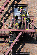 5 Alarm Fire engulfs top floor of Six story building sending residents into the streets and bringing over 200 FireFighters to the scene in the Lefferts Gardens section of Flatbush, Brooklyn on August 1, 2008.